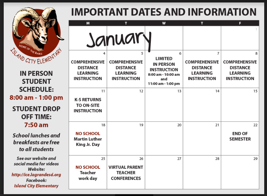 January Important Dates and Information