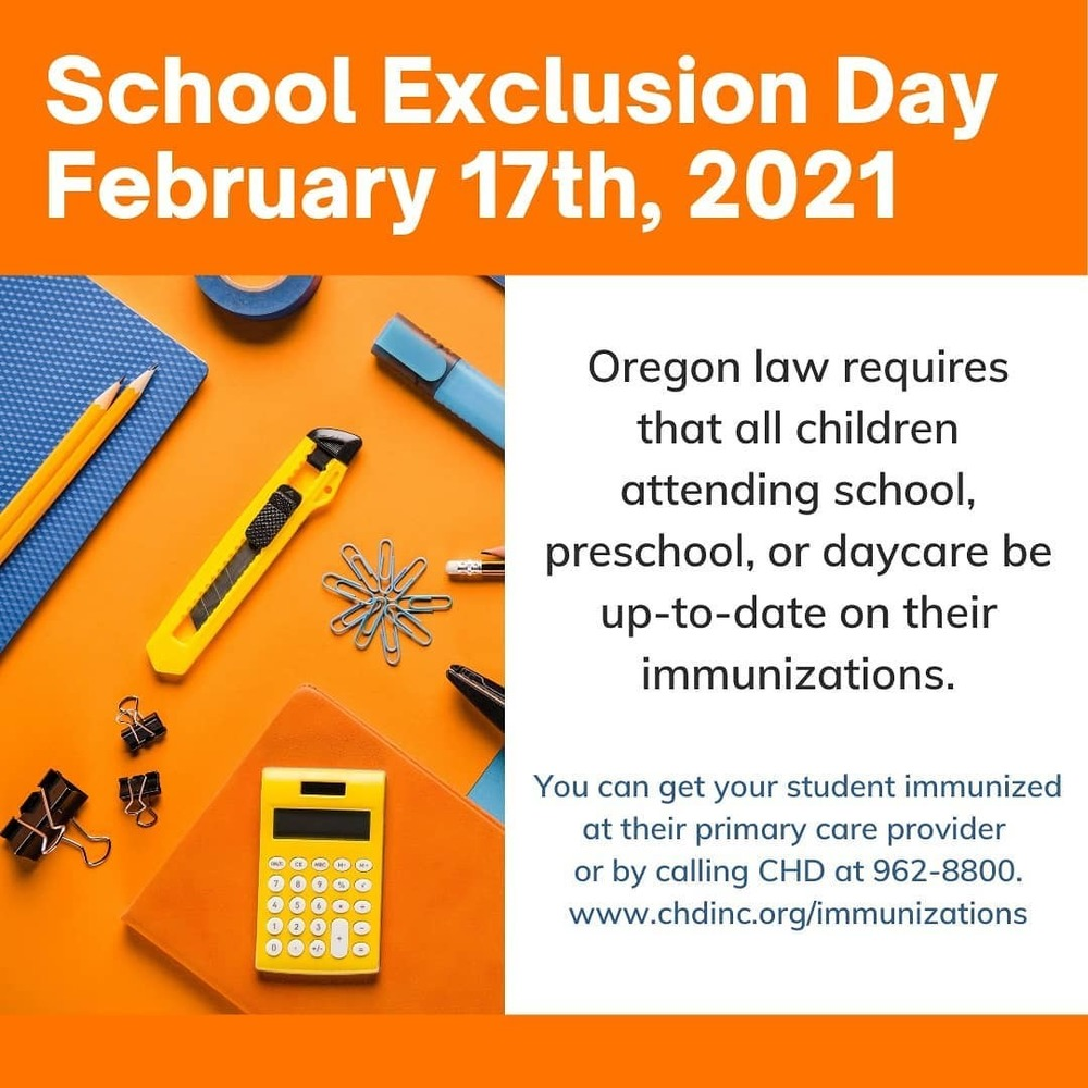 ​Oregon School Immunization EXCLUSIONS 2021