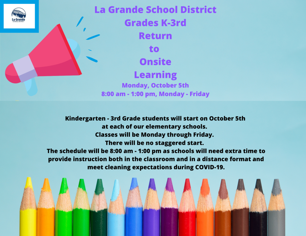 K-3rd grades will learn onsite beginning October 5th from 8-1 pm, Monday through Friday