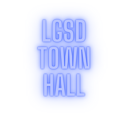 LGSD Town Hall in glowing lights