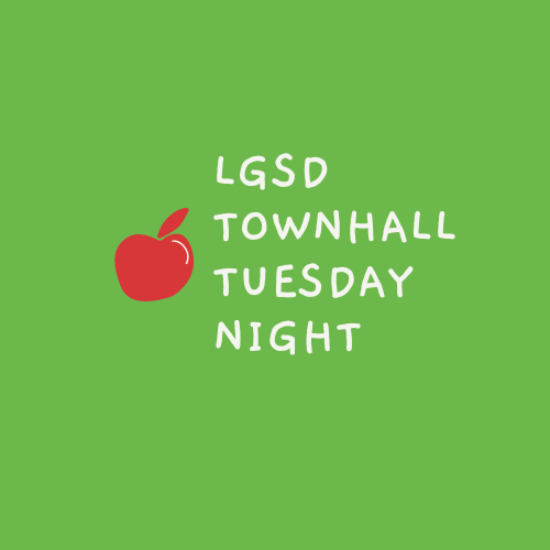 LGSD Townhall Tuesday Night with red apple