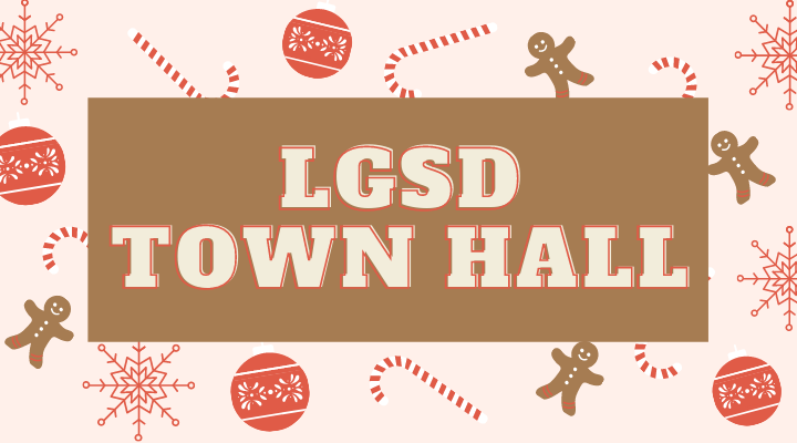 LGSD Town Hall with gingerbread, candy canes and ornaments.