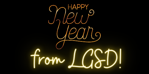 Happy New Year from LGSD! in gold lights.
