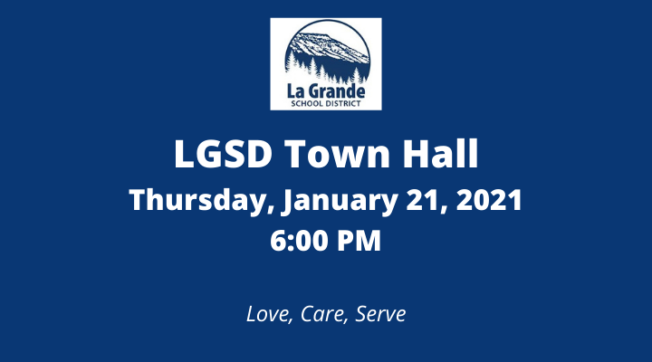 "LGSD logo with Mt Emily and ""LGSD Town Hall. Thursday, January 21, 2021, 6:00 PM. Love, Care, Serve."