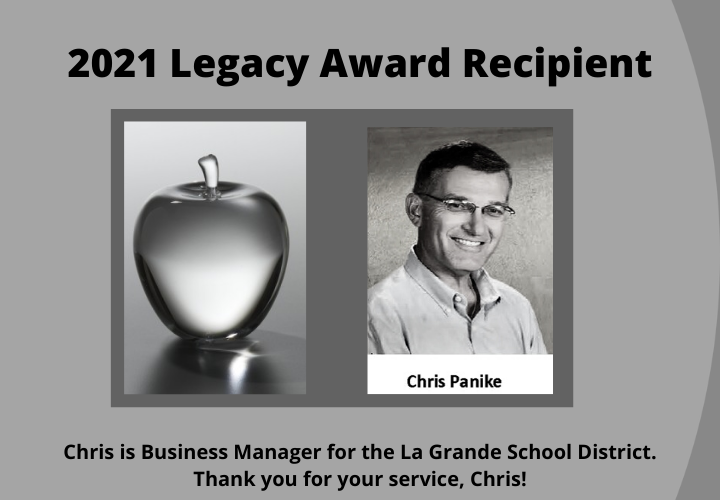"2021 Crystal Apple ""Excellence in Education"" Award Recipient.Chris Panike. Chris is Business Manager for the La Grande School District. Thank you, Chris!"