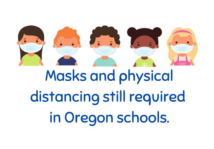 "Children in masks and states, ""masks and physical distancing still required in Oregon schools."""